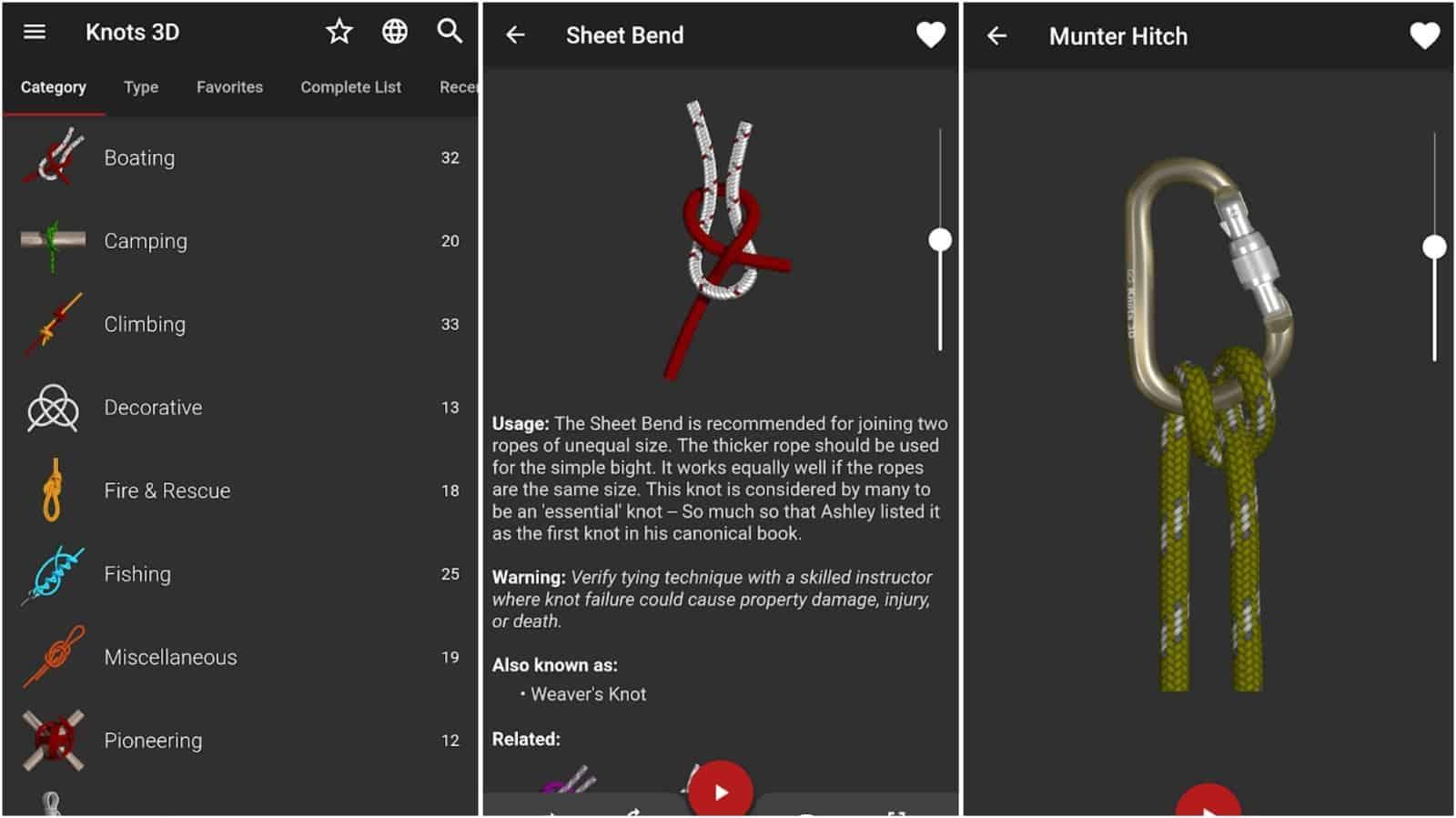 Обучающее приложение на андроид по вязки узлов