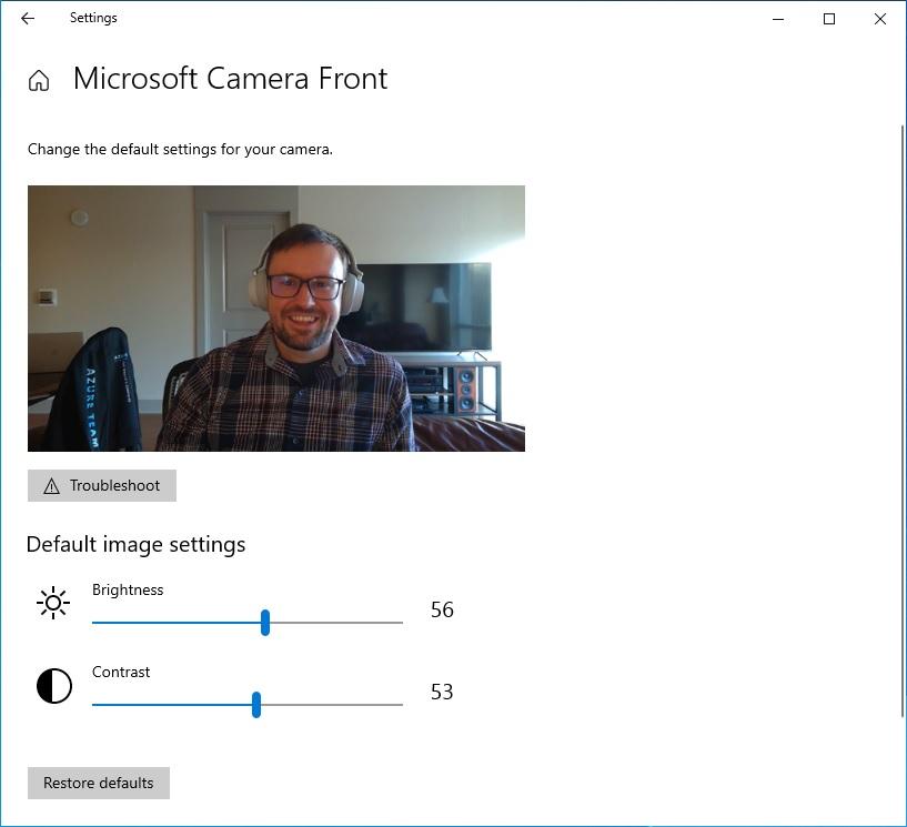 Настройки камеры  Windows 10 версии 21H2