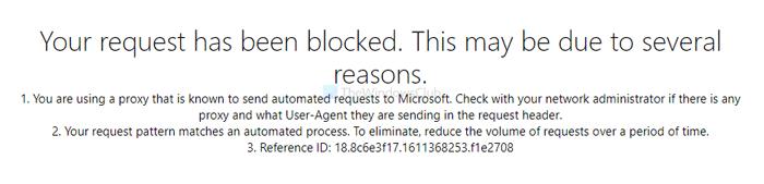 Ваш запрос был заблокирован, сообщение об ошибке