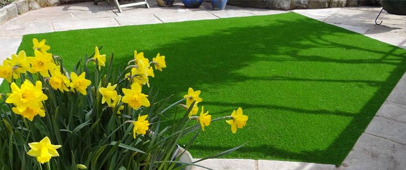 искусственная трава постеленная во дворе