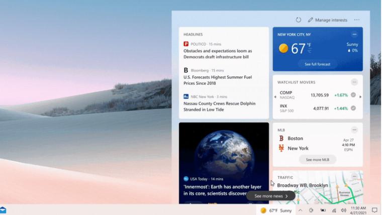 Скриншот Виджета Новости и интересы в Windows 10