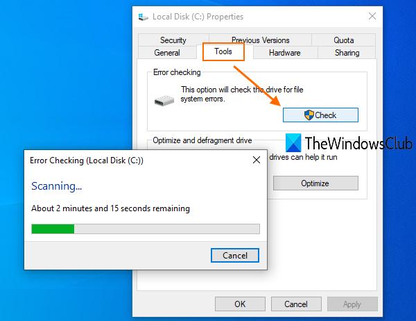 запустите инструмент CHKDSK, чтобы исправить ошибку резервного копирования Windows 0x8100002F
