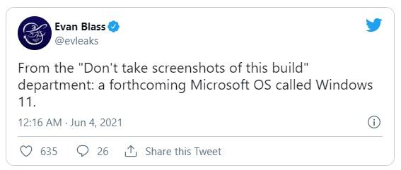 твит Эван Бласс о новой windows 11