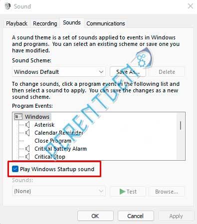 отключить звук при запуске в Windows 11